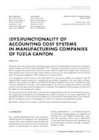 (Dys)functionality of accounting cost systems in manufacturing companies of Tuzla canton