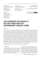 prikaz prve stranice dokumenta THE CONCEPT OF QUALITY IN THE FUNCTION OF SECONDARY HEALTH CARE