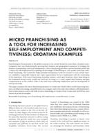 prikaz prve stranice dokumenta MICRO FRANCHISING AS A TOOL FOR INCREASING SELF-EMPLOYMENT AND COMPETITIVENESS: CROATIAN EXAMPLES