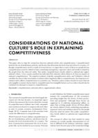 CONSIDERATIONS OF NATIONAL CULTURE'S ROLE IN EXPLAINING COMPETITIVENESS