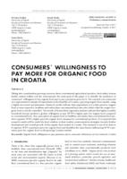 CONSUMERS' WILLINGNESS TO PAY MORE  FOR ORGANIC FOOD IN CROATIA