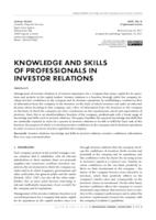prikaz prve stranice dokumenta KNOWLEDGE AND SKILLS OF PROFESSIONALS IN INVESTOR RELATIONS