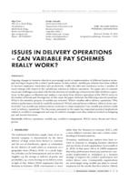 ISSUES IN DELIVERY OPERATIONS – CAN VARIABLE PAY SCHEMES REALLY WORK?