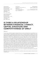 prikaz prve stranice dokumenta IS THERE A RELATIONSHIP BETWEEN FINANCIAL LITERACY, CAPITAL STRUCTURE AND COMPETITIVENESS OF SMEs?