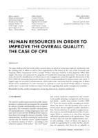 prikaz prve stranice dokumenta HUMAN RESOURCES IN ORDER TO IMPROVE THE OVERALL QUALITY: THE CASE OF CPII