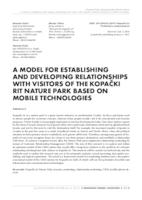 A model for establishing and developing relationships with visitors of the Kopački rit Nature Park based on mobile technologies