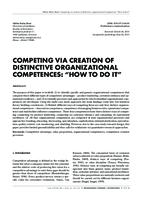 "prikaz prve stranice dokumenta COMPETING VIA CREATION OF DISTINCTIVE ORGANIZATIONAL COMPETENCES: ""HOW TO DO IT"""